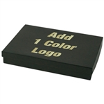 Hot-Stamped Large Black Kraft Pinstripe Jewelry Boxes