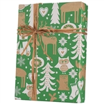 Recycled Woodland Critters Kraft Gift wrap paper