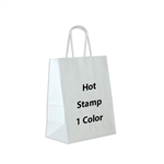 1 Color Hot Stamped Chimp White Paper Shopping Bag