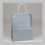 Silver Gloss Paper Shopping Bags