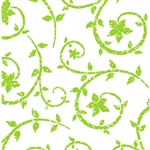 Wholesale Floral Counter Rolls - Deco Swirl Spring Green Pattern