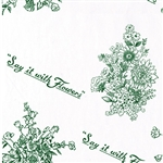 Wholesale Floral Counter Rolls - Say it with Flowers Green Pattern