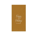 "Holiday Printed Guest Towel Napkins - Gold - 4-1/4"" x 8-1/2"""
