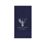 "Navy Blue Printed Guest Towel Napkins - Navy Blue - 4-1/4"" x 8-1/2"""