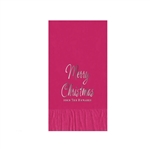 "Printed Guest Towel Napkins - Raspberry - 4-1/4"" x 8-1/2"""