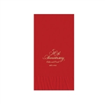 Printed Guest Towel Napkins - Red - Anniversaries, Bar Mitzvah & Parties