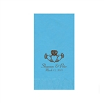 "Wedding Printed Guest Towel Napkins - Bermuda Blue - 4-1/4"" x 8-1/2"""