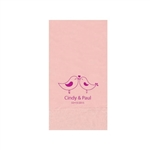 "Wedding Printed Guest Towel Napkins - Classic Pink - 4-1/4"" x 8-1/2"""