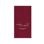 "Wedding Printed Guest Towel Napkins - Cranberry - 4-1/4"" x 8-1/2"""