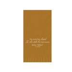 "Wedding Printed Guest Towel Napkins - Gold - 4-1/4"" x 8-1/2"""