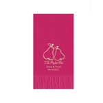 "Wedding Printed Guest Towel Napkins - Raspberry - 4-1/4"" x 8-1/2"""