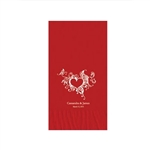 "Wedding Printed Guest Towel Napkins - Red - 4-1/4"" x 8-1/2"""