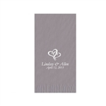 "Wedding Printed Guest Towel Napkins - Silver - 4-1/4"" x 8-1/2"""