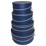 Rigid Nested Hat Boxes - Navy Blue