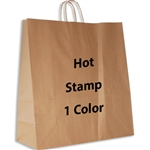 1 Color Hot Stamped Hippo Kraft Paper Shopping Bag