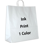 1 Color Ink-Printed Hippo White Kraft Paper Shopping Bag