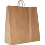 "Hippo 100% Recycled Kraft Paper Shopping Bags: 18"" x 7"" x 18-3/4"" - 200 Bags/Case"