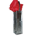 "Heavy Metal Wine Bottle Bags Silver  4"" x 14"" x 4-1/2"""