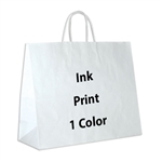 1 Color Ink-Printed Jaguar White Kraft Paper Shopping Bag