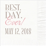 Best Day Ever Design Wedding Beverage Napkins