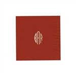 "Personalized Monogram Luncheon Napkins - Brick - 6-3/4"" x 6-3/4"" - 50 or 100/pack"