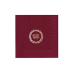 "Personalized Monogram Luncheon Napkins - Cranberry - 6-3/4"" x 6-3/4"" - 50 or 100/pack"