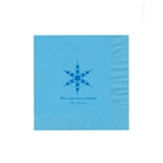 "Holiday Printed Luncheon Napkins - 6-3/4"" x 6-3/4"" Bermuda Blue"