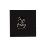 "Holiday Printed Luncheon Napkins - 6-3/4"" x 6-3/4"" Black"