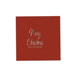 "Holiday Printed Luncheon Napkins - 6-3/4"" x 6-3/4"" Brick"
