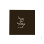 "Holiday Printed Luncheon Napkins - 6-3/4"" x 6-3/4"" Chocolate Brown"
