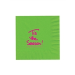 "Holiday Printed Luncheon Napkins - 6-3/4"" x 6-3/4"" Citrus Green"