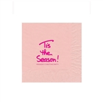 "Holiday Printed Luncheon Napkins - 6-3/4"" x 6-3/4"" Classic Pink"