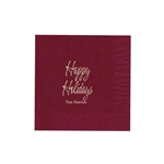 "Holiday Printed Luncheon Napkins - 6-3/4"" x 6-3/4"" Cranberry"