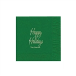 "Holiday Printed Luncheon Napkins - 6-3/4"" x 6-3/4"" Emerald"