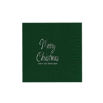 "Holiday Printed Luncheon Napkins - 6-3/4"" x 6-3/4"" Evergreen"