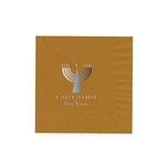 "Holiday Printed Luncheon Napkins - 6-3/4"" x 6-3/4"" Gold"