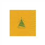 "Holiday Printed Luncheon Napkins - 6-3/4"" x 6-3/4"" Harvest Gold"