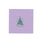 "Holiday Printed Luncheon Napkins - 6-3/4"" x 6-3/4"" Lavender"