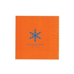 "Holiday Printed Luncheon Napkins - 6-3/4"" x 6-3/4"" Orange"