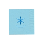 "Holiday Printed Luncheon Napkins - 6-3/4"" x 6-3/4"" Pastel Blue"