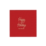 "Holiday Printed Luncheon Napkins - 6-3/4"" x 6-3/4"" Red"