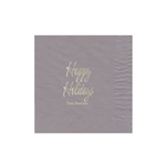 "Holiday Printed Luncheon Napkins - 6-3/4"" x 6-3/4"" Silver"