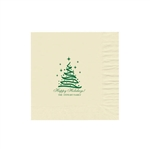 "Holiday Printed Luncheon Napkins - 6-3/4"" x 6-3/4"" Warm White"