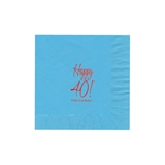 "Personalized Party Luncheon Napkins - 6-3/4"" x 6-3/4"" Bermuda Blue"