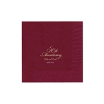 "Personalized Party Luncheon Napkins - 6-3/4"" x 6-3/4"" Cranberry"