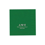 "Personalized Party Luncheon Napkins - 6-3/4"" x 6-3/4"" Emerald"