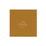"Personalized Party Luncheon Napkins - 6-3/4"" x 6-3/4"" Gold"