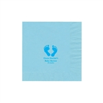 "Personalized Party Luncheon Napkins - 6-3/4"" x 6-3/4"" Pastel Blue"