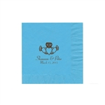 "Wedding Printed Luncheon Napkins - 6-3/4"" x 6-3/4"" Bermuda Blue"