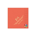 "Wedding Printed Luncheon Napkins - 6-3/4"" x 6-3/4"" Coral"